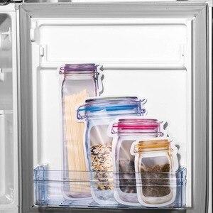 Многоразовые банки для Мейсона, бутылки, мешки, орехи, конфеты, печенье, мешок, печать, свежие продукты, сумка для хранения, закуски, на молнии, герметичный кухонный Органайзер