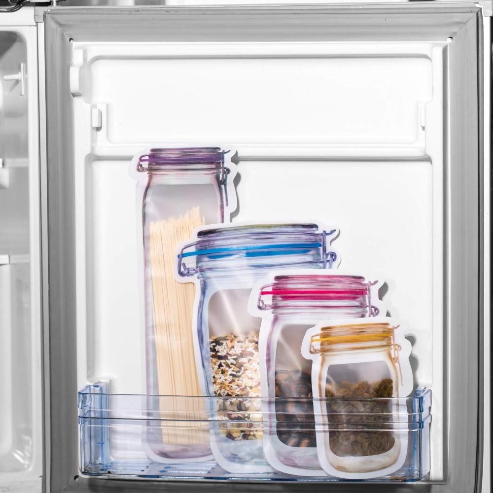 Reusable Mason Jar Bottles Bags Nuts Candy Cookies Bag Seal Fresh Food Storage Bag Snacks Zipper