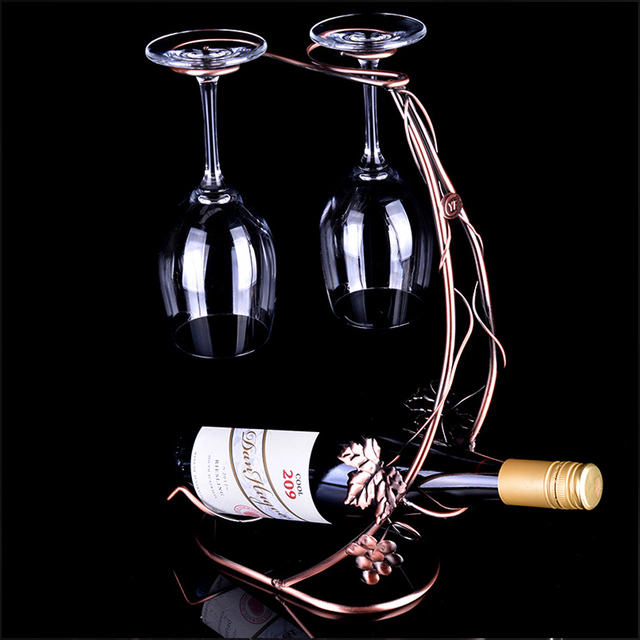Holder Glass Vintage Cups Rack New Wine Vine Bottle Metal Grape 2WEIDH9