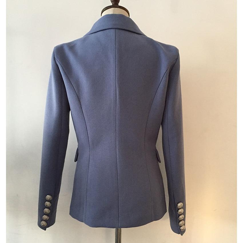 TOP QUALITY Designer Blazer Jacket Women 2019 New Fashion Double Breasted Metal Lion Buttons Blue Jacket Blazer
