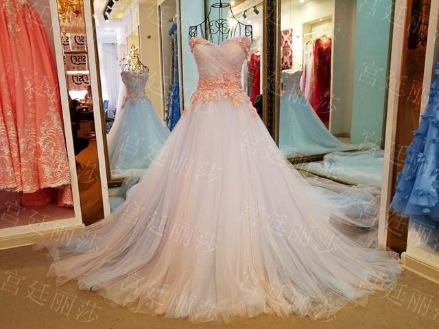 Korea Style Off Shoulder Lace Wedding Dress 2017 Western Romantic