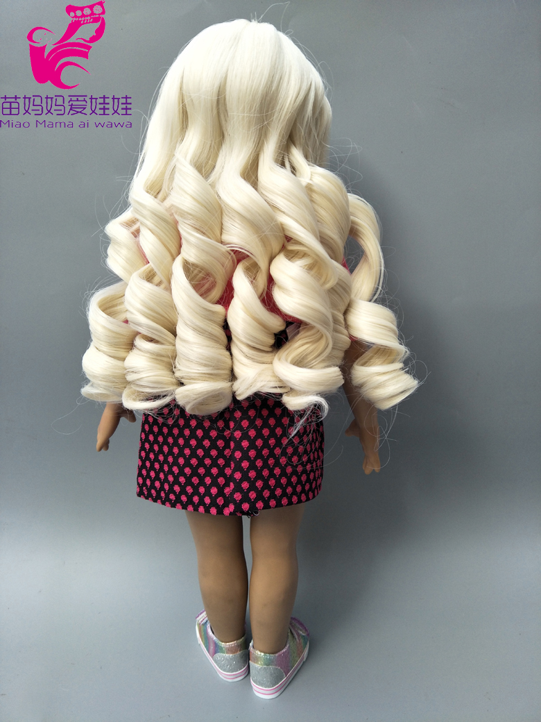 25 28cm Head Size Dolls Blonde Wig Wavy Hair For 18 Inch