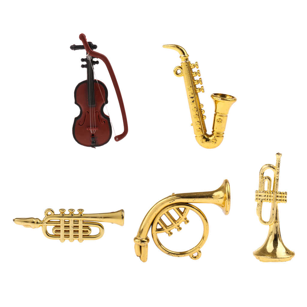 5 Styles Miniature Musical Instrument Model for 1/12 Dolls House Garden Accessories Room Life Scenes Decoration