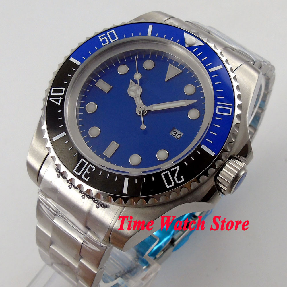 44mm blue sterial dial date  luminous Blue&black Ceramic Bezel Automatic movement  Mens watch BL5544mm blue sterial dial date  luminous Blue&black Ceramic Bezel Automatic movement  Mens watch BL55