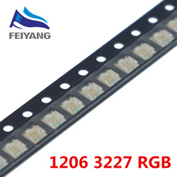 100pcs 1206 (3227) RGB Common Anode SMD LED Bead Tricolor Red Green Blue Ultra Bright Chip LED Light Emitting Diode Lamp SMT