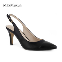 Maxmuxun Shoes Woman Genuine Leather High Heels Dress Pump Classic Sexy OL Thin Heel Pointed Toe