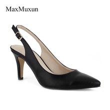 Maxmuxun Phụ Nữ Giày Cao Gót Bơm Đen Bạc Màu Đỏ Toe Nhọn Sexy Dress Slingback Giày Stiletto Sandals Cho Đám Cưới Đảng
