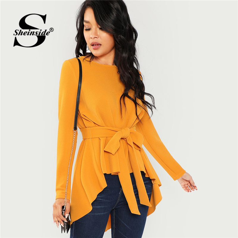 Sheinside Ginger Elegant   Blouse   Women Self Belted Asymmetrical Hem Top Office Ladies Workwear Womens   Shirt   Long Sleeve   Blouses