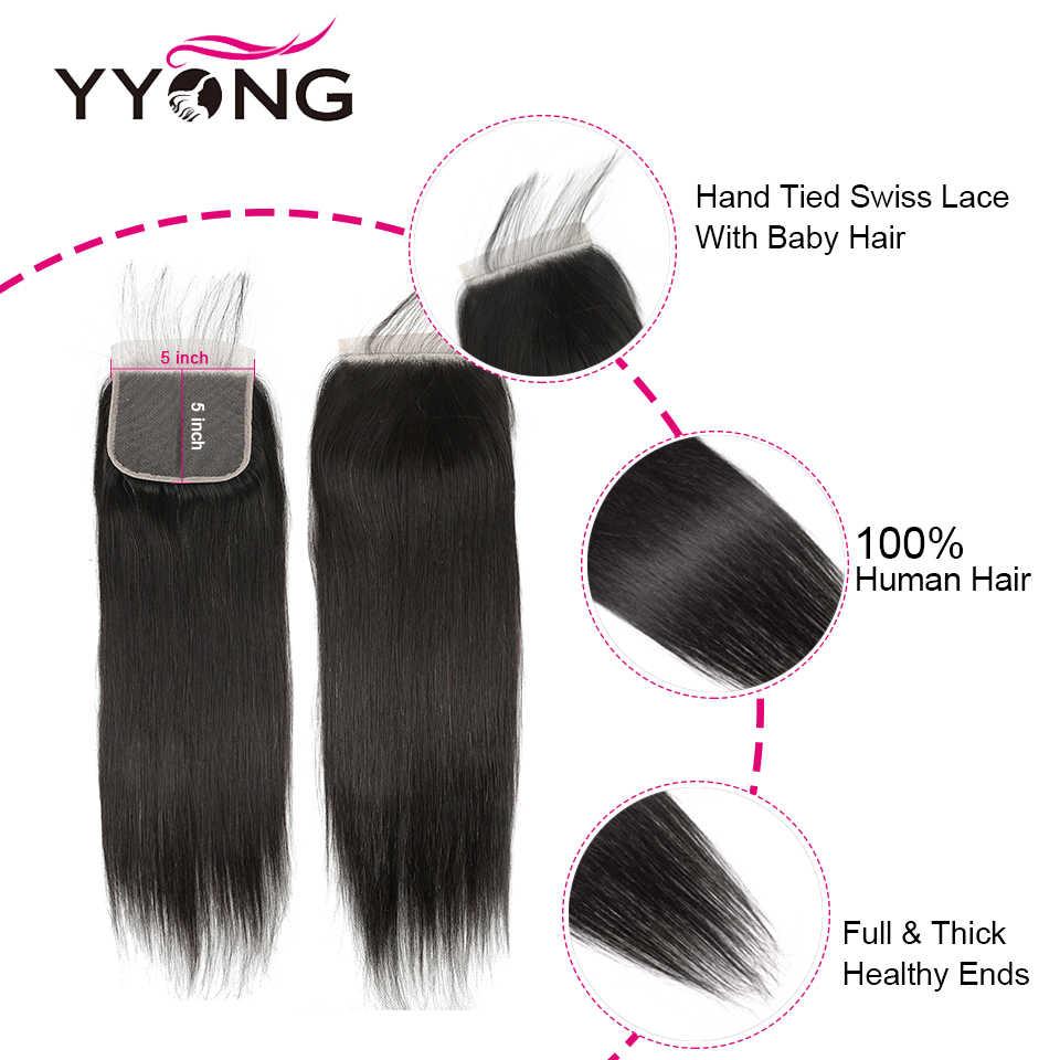 Yyong cabelo 5x5 fechamento com pacotes 8-30 polegada peruano pacotes retos com fechamento remy fechamento do laço do cabelo humano com pacotes