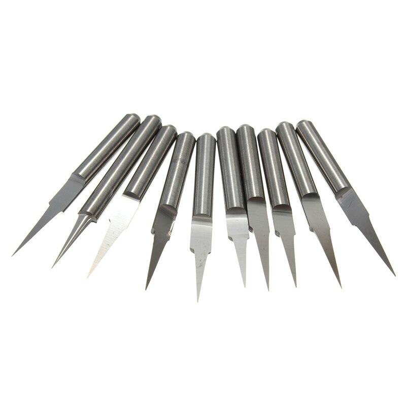 10pcs 45 Degree 0.1mm Engraving Bits CNC PCB Router Tool V-shape Carbide
