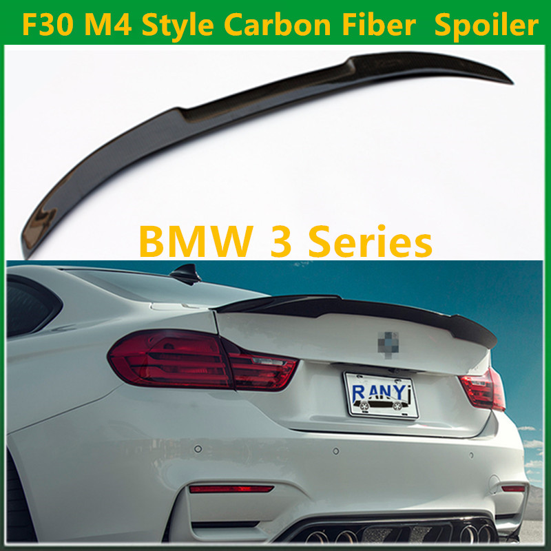 3 Series F30 M4 Style Carbon Fiber Gloss Black Rear Trunk Spoiler Wings Trunk Lip for BMW F30 F80 M3 2012 + 320i 325i 328i 335i 2015 2016 amg style w205 carbon fiber rear trunk spoiler wings for mercedes c class c180 c200 c250 c300 c350 c400 c450 c220