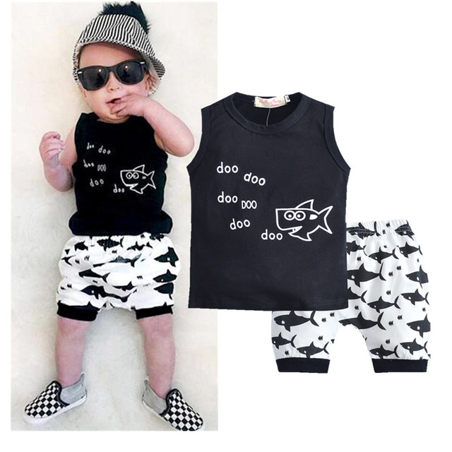 7002dbb27127 2PCS Kids Baby Boys Clothes Set Toddler T shirt Tops Sleeveless Cute ...