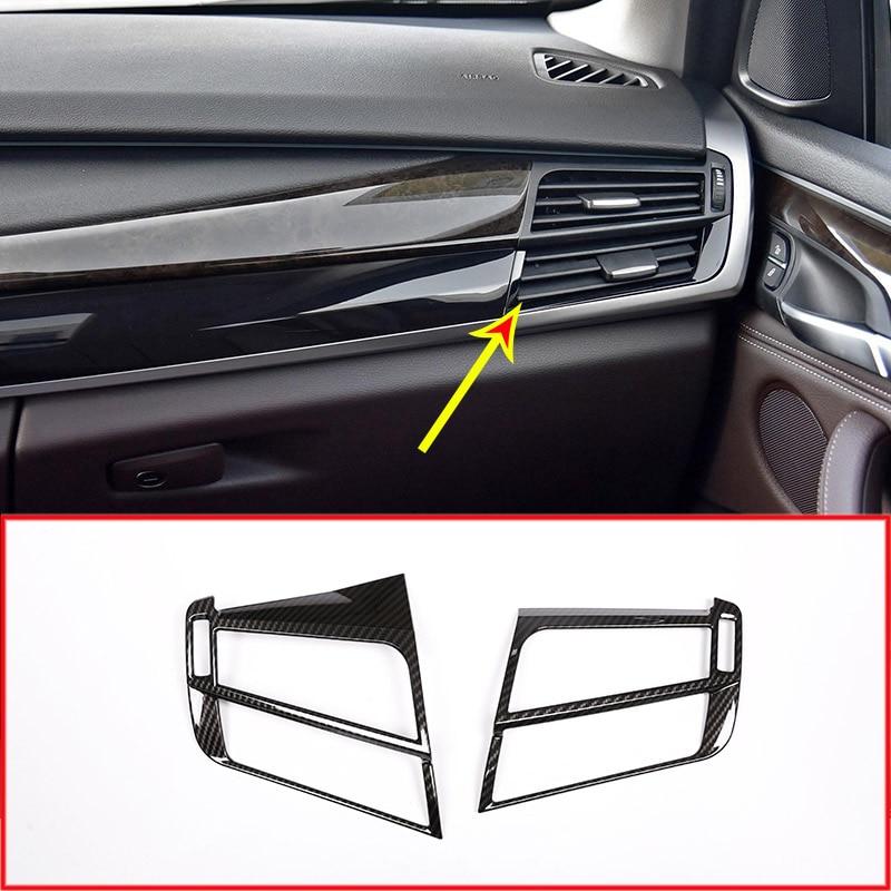 Carbon fiber ABS Car Air Condition Outlet Vent Frame Trim For BMW X5 f15 X6 F16 2014 2015 Accessories left hand drive interior vent outlet cover trim 7pcs for lexus rx200t rx450h 2016 left hand drive car