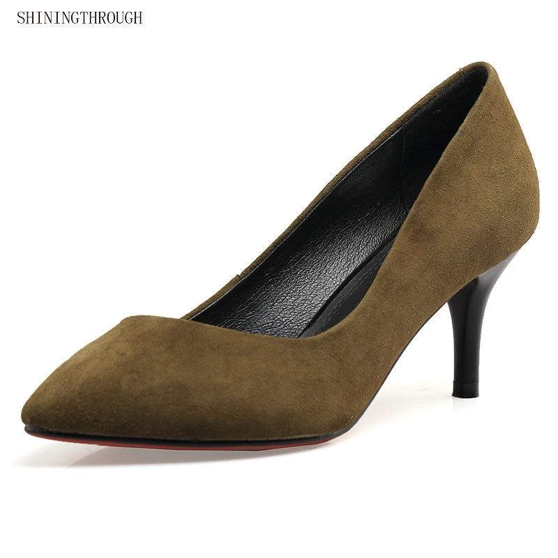 2019 Gamuza Punta Zapatos verde Slip Calzado Moda Alto Verde Finos Vestido  Tacones De Bombas Negro Cuero Tacón on Mujer Negro CxSvq0aw 18fde6875cb5