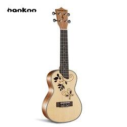 Hanknn 23 Pouce Acajou Ukulélé Concert Hawaïen Guitare Acoustique Cordes Artisanat Ukulélé Musical Instruments pour Étudiant