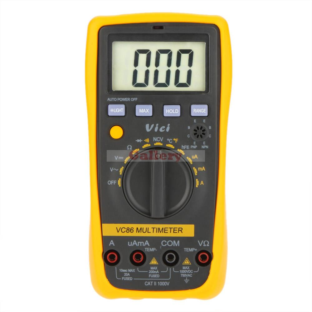 Vici VICHY VC86 Auto Range Digital Multimeter DMM Temperature Meter w/NCV hFE Test & LCD Backlight mastech ms8260f 4000 counts auto range megohmmeter dmm frequency capacitor w ncv