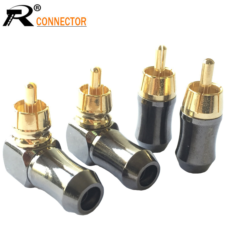 10pcs/lot RCA Male Plug Gold Plated Straight / Right Angle RCA Connector Audio Speaker Cable Plug Adapter Wholesales