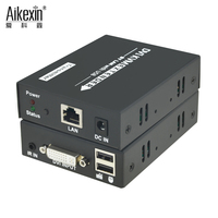 Aikexin 120m KVM DVI Extender,1080P 395ft USB DVI KVM IR Extender Over Cat5/6 UTP Cable Support Keyboard Mouse IR KVM Extender