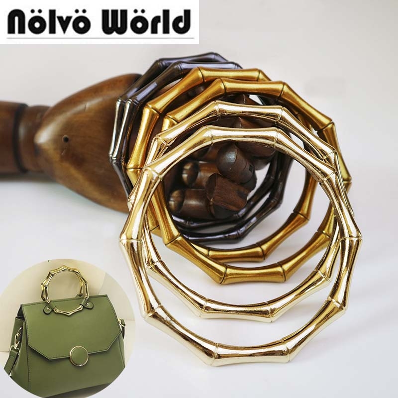 5pairs=10 Pieces,Bamboo Shaped Alloy Material 11cm Big O Ring Handles,diy Women Bags Bolso Welded Circle Ring Handle Wholesale