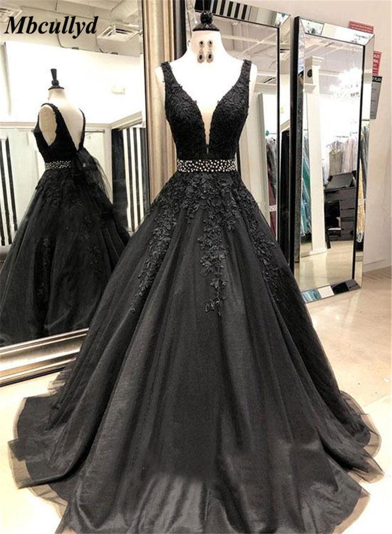 Fashionable Black Long   Bridesmaid     Dresses   2019 Applique Lace Maid Of Honor   Dress   Party For Women Shining Beading Formal Gowns