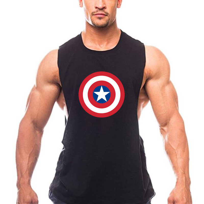 a069f97bb0ab2b Brand Captain America Print Mens Tank Tops Bodybuilding Clothing Cotton  Tanktop Blank Work out Vest Men Fitness Sleeveless Shirt  105626