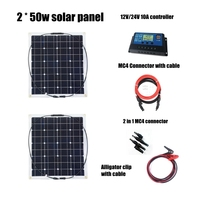 2pcs Mono 50w Solar Panels Modules with 12V/24V Controller and MC4 Connectors Cables House Use Off Grid Solar Power System