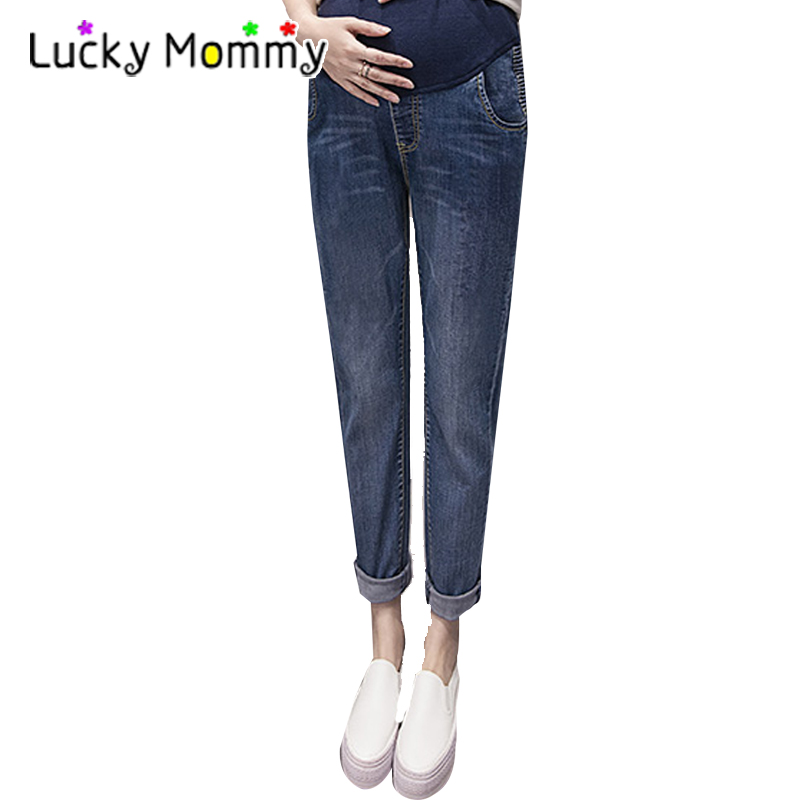 Classic Blue Maternity Jeans Casual Harem Pants Korea Fashion Winter Warm Trousers Plus Size Women's Clothes Clothing M-XXL 2017 retro mens jeans full length pants men casual straight fitness jeans trousers male designer loose plus big size 42 44 46 48