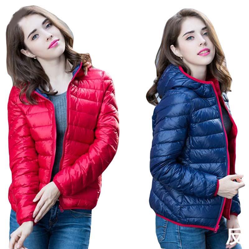 Women Light Thin Hooded Down Jackets Two Side Wear Ultra Light Short Slim Down Coat Spring Autumn Female Duck Down Jacket FP0410
