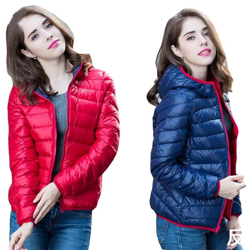 Women Light Thin Hooded   Down   Jackets Two Side Wear Ultra Light Short Slim   Down     Coat   Spring Autumn Female Duck   Down   Jacket FP0410