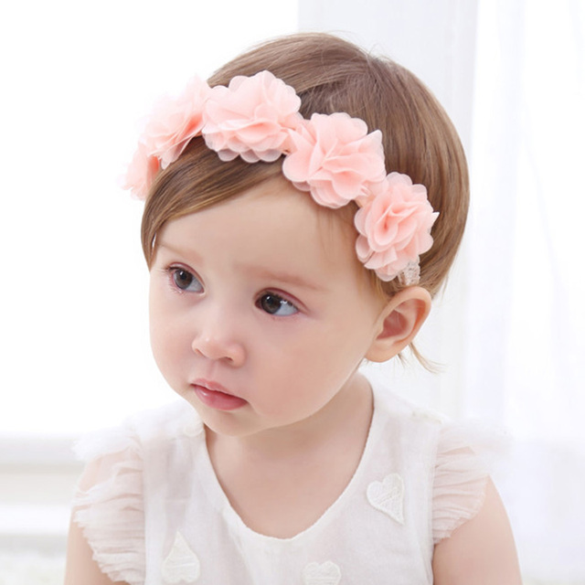 Baby Headband Flower Girls Pink Ribbon Hair Bands for Kids Turban Newborn Accessories 1