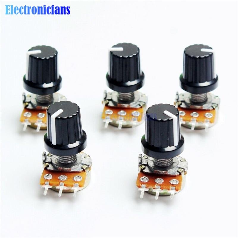 Потенциометр WH148, 1 шт., резистор 1K 10K 20K 50K 100K 500K Ом, 3-контактный линейный конический поворотный потенциометр для Arduino с крышкой