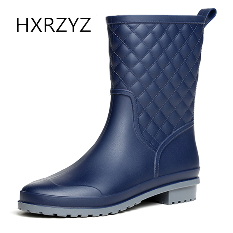 HXRZYZ Women rain boots female black rubber ankle boots spring/autumn fashion PVC Slip-Resistant Waterproof women shoes  water shoes spring and autumn woman warm rain shoes and ankle rain boots lady waterproof fashion rubber boots