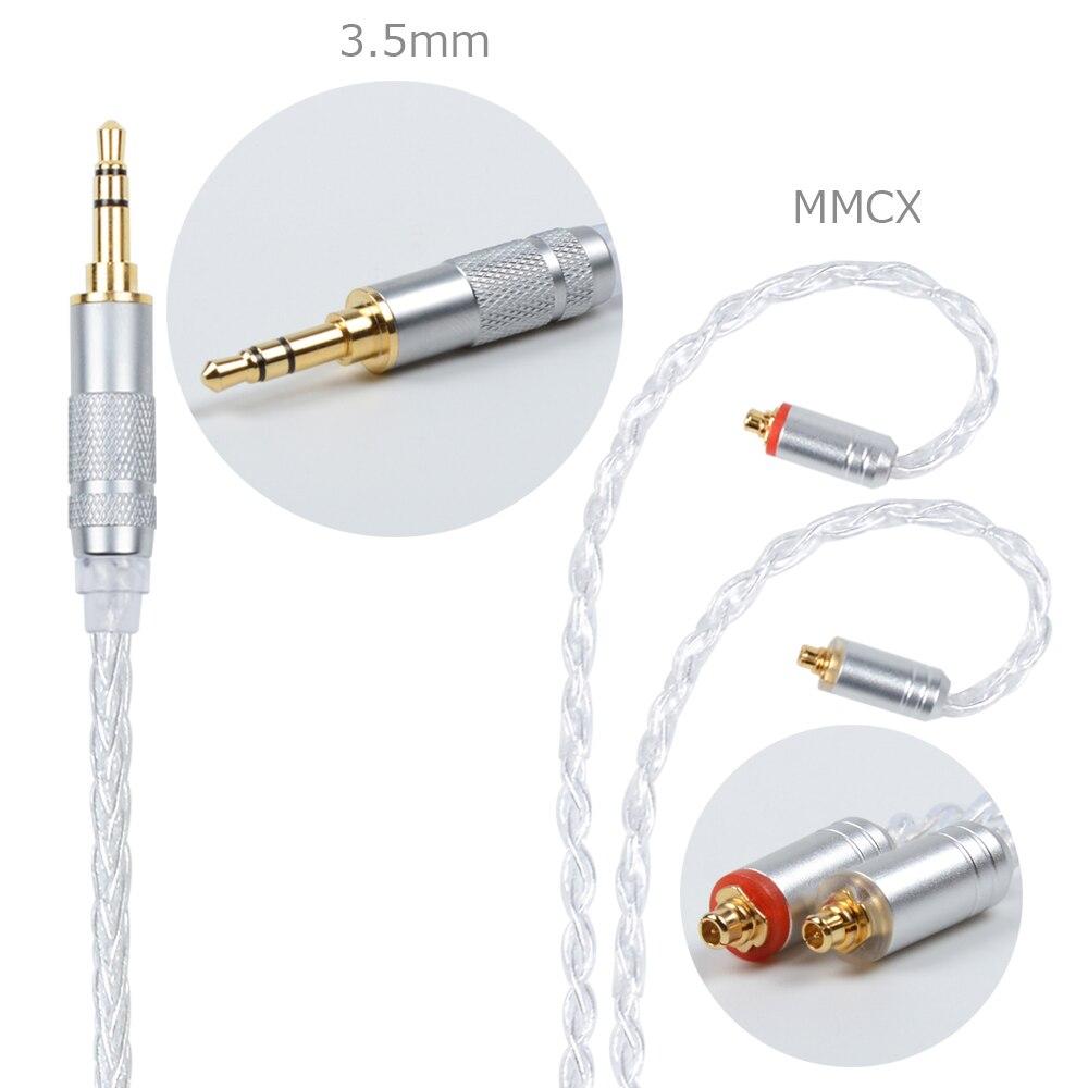 NICEHCK MMCX/2Pin Connecteur 4.4/3.5/2.5mm Équilibrée 8-core Argent Plaqué Câble Pour SE846 ZS10 ZS6 LZ A5 NICEHCK HC5 Avec Crochet D'oreille