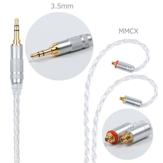Nicehck mmcx/2Pinコネクタ 4.4/3.5/2.5 ミリメートルバランス 8 コアシルバーメッキケーブルSE846 ZS10 ZS6 lz A5 nicehck HC5 耳フック