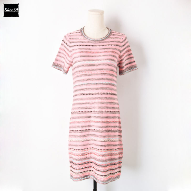 2018 New Slim Basic Knit Sweater Dresses Women Runway Design Striped Knitted Chic Office Casual Dress Summer Knitwear Vestidos