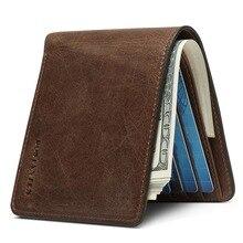 Мужской кошелек в винтажном стиле, повседневный дизайн, натуральная воловья кожа, мужской кошелек, деловой мужской кошелек, новинка, мужской кошелек, держатель для карт