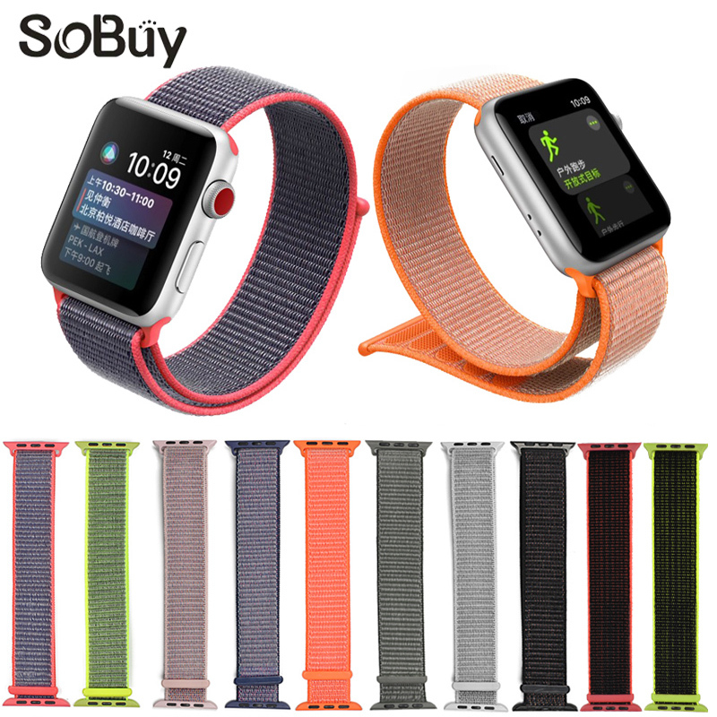 IDG sport woven nylon loop strap for apple watch band wrist braclet belt fabric 38 mm 42 nylon band for iwatch1 2 3 series Strap woven canvas casual sports watch band iwatch strap genuine leather watch belt for apple watch