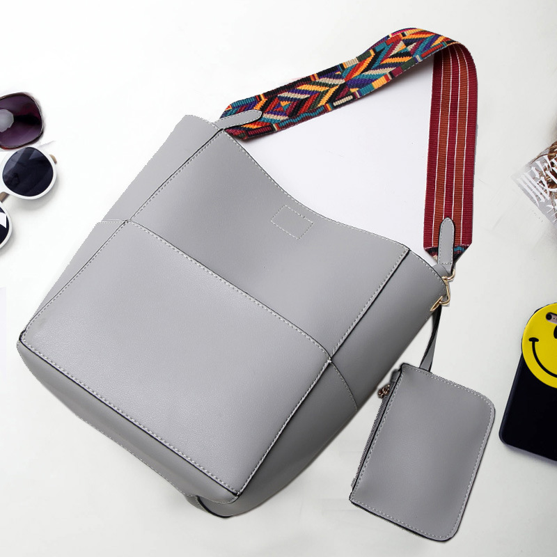 High Quality Women Pu Leather Shoulder Bag vintage Colorful Strap Bucket Bag Brand Desinge Ladies Casual Tote shopping Bags