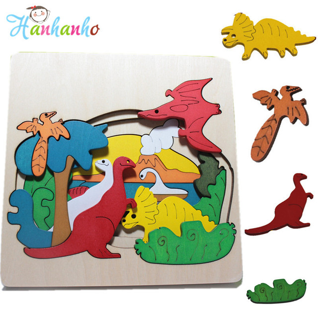 High Quality Multi Layer Wood Dinosaur Jigsaw Puzzle Children Educational Toys Animal 3D Creative