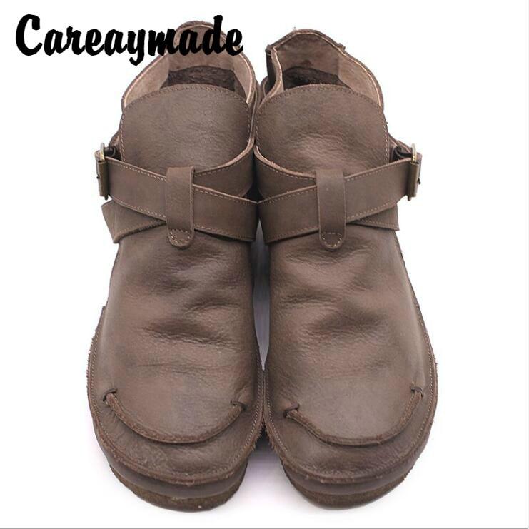 Careaymade 2019 autumn original handmade women s shoes round head comfortable leisure shoes retro genuine leather