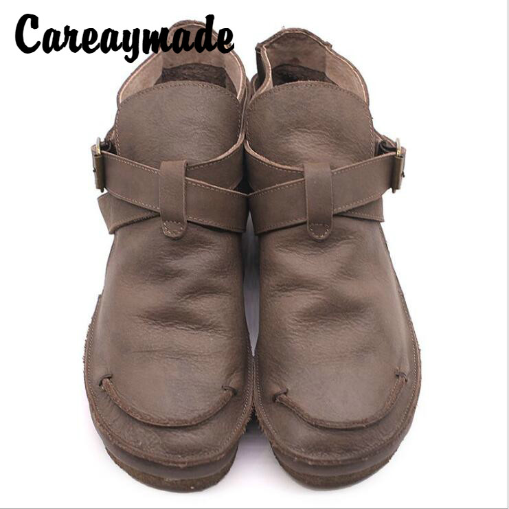 Careaymade-2019 autumn original handmade women's shoes round head comfortable leisure shoes, retro genuine leather ankle boots