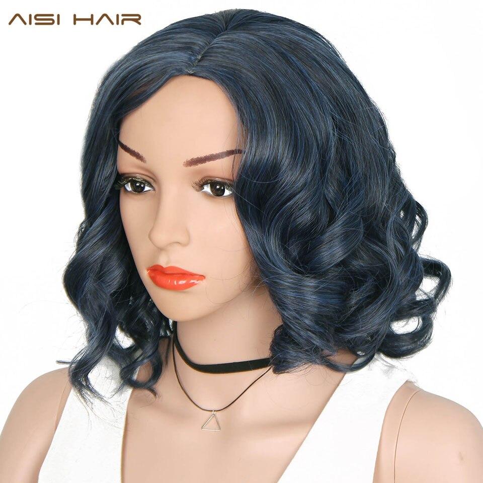 AISI HAIR Syntetiska Parykar Blandade Blå och Svarta för Kvinnor - Syntetiskt hår