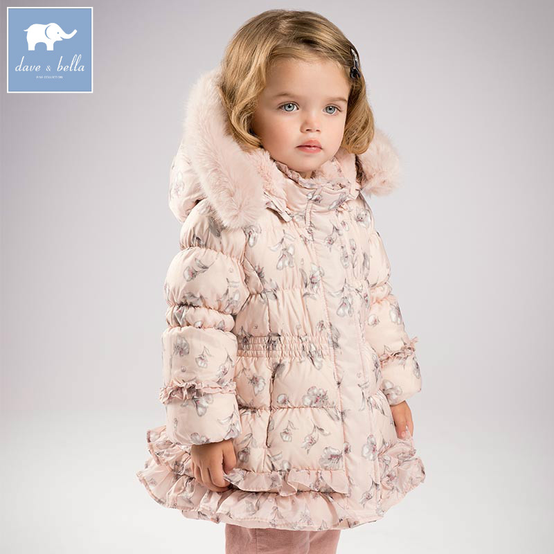 DB5522 dave bella winter baby girls floral down jacket children white duck down padding coat kids hooded outerwear janome 423s 5522