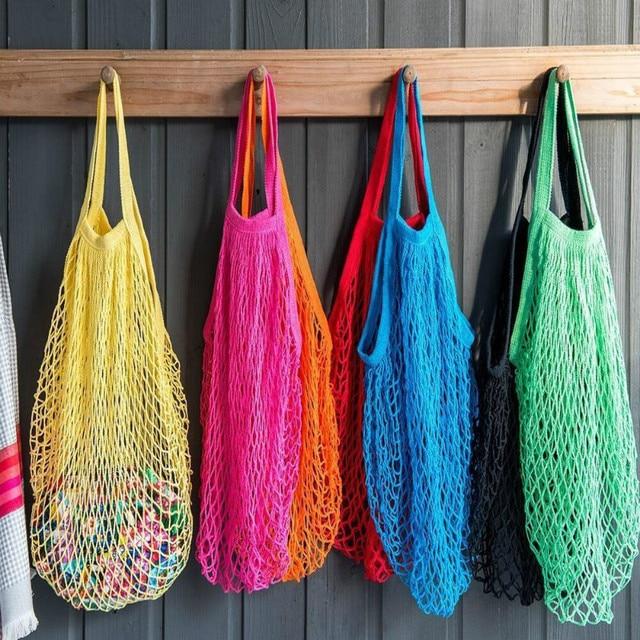 Карамельный цвет полезные многоразовый фрукты разное строка Бакалея Shopper хлопок сумка сетки сетка тканая Сумки для хранения
