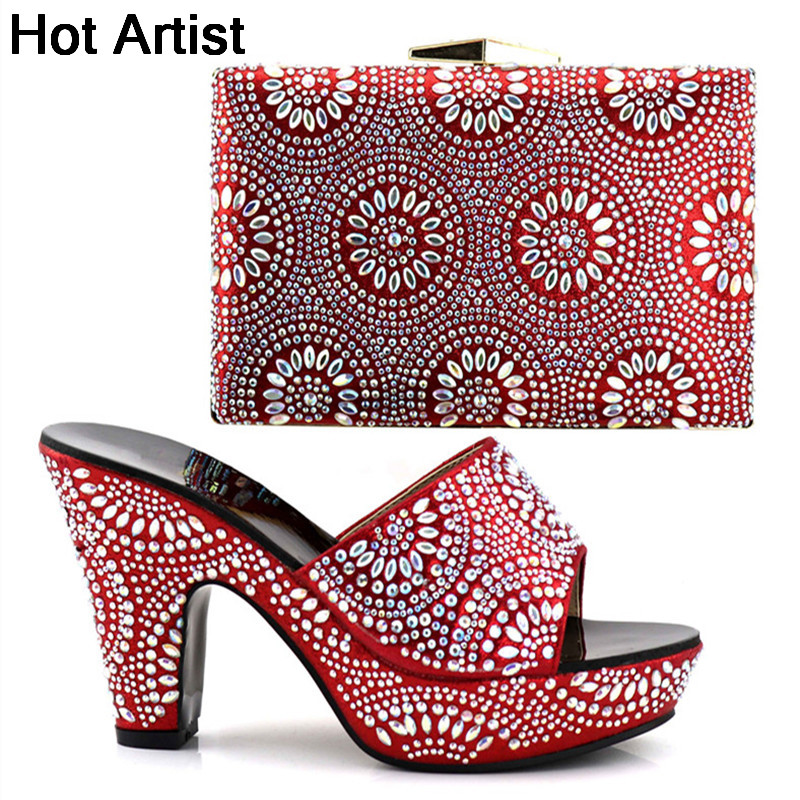 Hot Artist Summer New African Red Color Shoes And Purse Set Summer Fashion High Heels Shoes And Bag Set For Woman Dress  YK-098