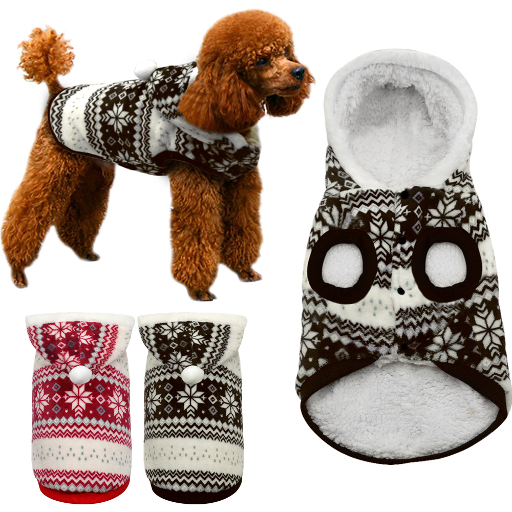 Winter Warm Pet Dog Coat Clothes Snowflake Print Christmas Hoodie Sweater For Small Medium Dogs