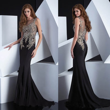 Elegant Vestidos Luxury O Neck Heavy Bead Chiffon See Through Black Sexy Long Formal Lace Mermaid Prom Dresses 2015 цена