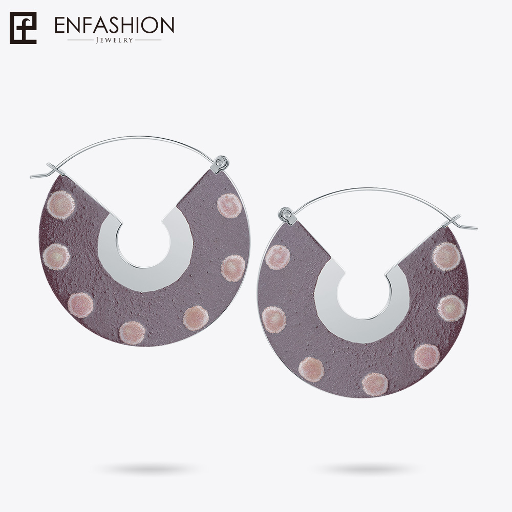 Enfashion Lacquer Art Series Circle of Life Drop Earrings Fan Shape Big Gold color for Women Earings oorbellen EBQ18LA23 pair of starfish shape earrings for women