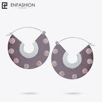 Enfashion Lacquer Art Series Circle of Life Drop Earrings Fan Shape Big Gold color for Women Earings oorbellen EBQ18LA23