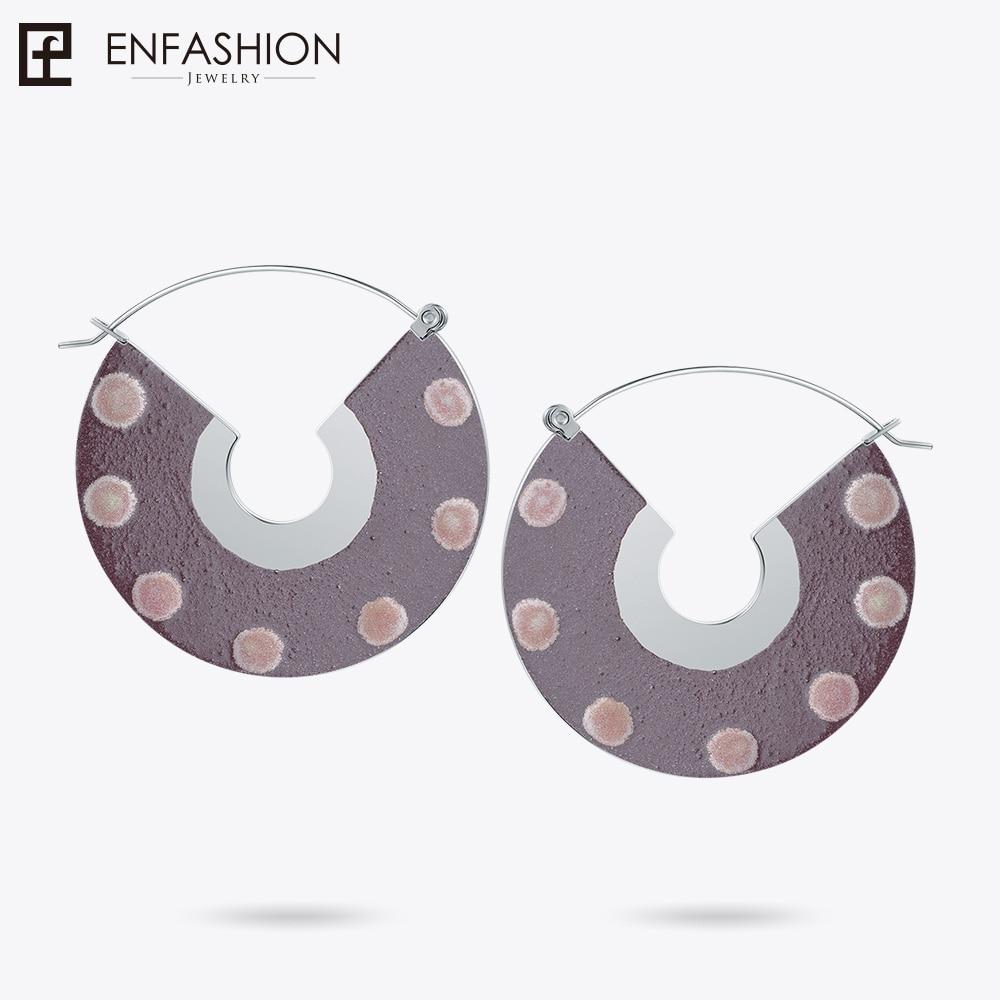 Enfoudre Laque Art Série Cercle de Vie boucles d'oreilles pendantes Ventilateur Forme Grand Or couleur pour Femmes Boucles D'oreilles oorbellen EBQ18LA23